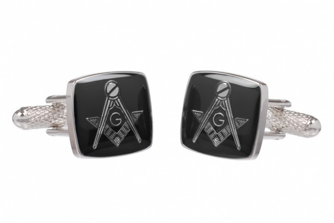 Masonic Black Square & Compass G Cufflinks